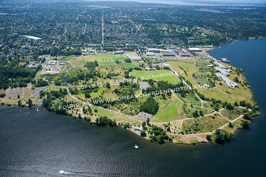 aerial photo of Magnuson Park, on the site of the former Sand Point Naval Air Station; Seattle, WA; July, 2011