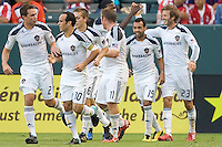 LA Galaxy midfielder David Beckham celebrates his goal with teammates. The LA Galaxy beat Chivas USA 2-1 at Home Depot Center stadium in Carson, California on Sunday October 3, 2010.