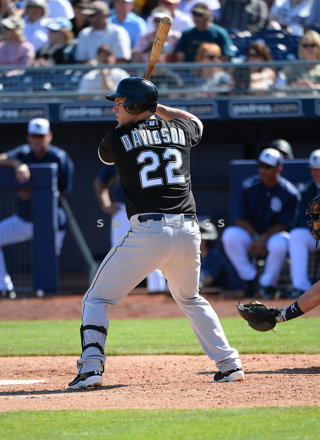 Chicago White Sox Matt Davidson (22) during a spring training game against the San Diego Padres on March 6, 2015 at Peoria Stadium in Peoria, AZ. The Padres beat the White Sox 5-0.