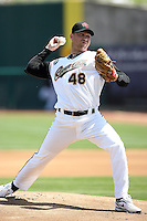 Mike Wuertz, Sacramento RiverCats against the Reno Aces at Raley Field, Sacramento, CA - 04/18/2010. Wuertz was appearing in a rehab start prior to returning to the parent club Oakland Athletics..Photo by:  Bill Mitchell/Four Seam Images.
