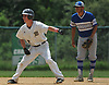 Mason McLane #2 of Wantag leads off second base shortly after delivering a two-out, two-run single into shallow left field in the bottom of the first inning of the Nassau County varsity baseball Class A final against Division Avenue at SUNY Old Westbury on Saturday, May 26, 2018. The hit extended Wantagh's lead to 3-0 as the Warriors went on to win Game 1 of the best-of-three series by a score of 5-2.