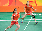 Ayaka Takahashi & Misaki Matsutomo (JPN), AUGUST 15, 2016 - Badminton : Women's Doubles Quarter finals at Riocentro - Pavilion 4 during the Rio 2016 Olympic Games in Rio de Janeiro, Brazil. (Photo by Enrico Calderoni/AFLO SPORT)