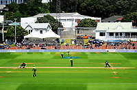 Colin Munro and Martin Guptill run during the One Day International cricket match between the NZ Black Caps and Pakistan at the Basin Reserve in Wellington, New Zealand on Saturday, 6 January 2018. Photo: Dave Lintott / lintottphoto.co.nz