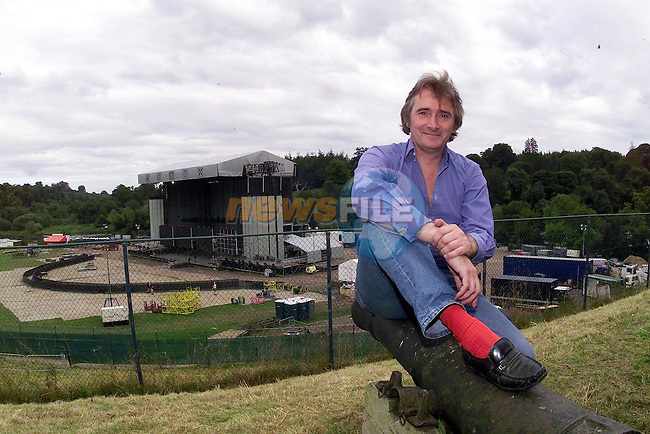 Lord Henry Mount Charles sitting on one of His Cannons in Front of Slane castle Over looking the Speciall built stage for the Biggest rock Event of the Year U2 to Play at Slane Castle..Picture Fran Caffrey Newsfile.