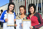 Sarah Sheerin Nadine Traynor and Lorna Kerr with there  Leaving cert result..Picture Fran Caffrey www.newsfile.ie