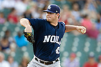 New Orleans Zephyrs pitcher Sean West #45 delivers during the game against the Round Rock Express at the Dell Diamond on July 21, 2011 in Round Rock, Texas.  New Orleans defeated Round Rock 7-4.  (Andrew Woolley/Four Seam Images)