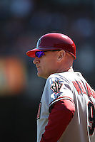 SAN FRANCISCO, CA - SEPTEMBER 3:  Third base coach Matt Williams #9 of the Arizona Diamondbacks works against the San Francisco Giants during the game at AT&T Park on Monday, September 3, 2012 in San Francisco, California. Photo by Brad Mangin