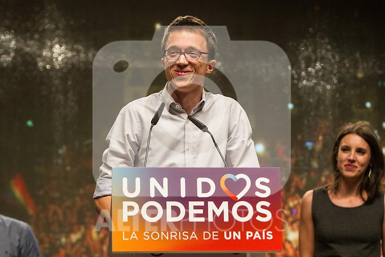 Spanish politician Inigo Errejon of Unidos Podemos party, after the results of the national elections at plaza Reina Sofia, Spain. 26,06,2016. (ALTERPHOTOS/Rodrigo Jimenez)