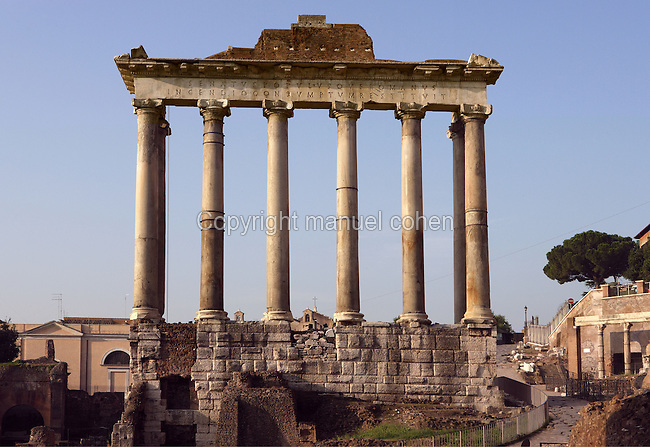 Temple of Saturn, erected in 497 BC by Titus Tatius on the site of the ancient altar dedicated to Saturn, restored many time before its reconstruction in 42 BC by Lucius Munatius Plancus, one of the Caesar's generals; the eight surviving columns date to the reconstruction of 283 AD, Roman Forum, Rome, Italy, Europe.