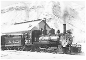 3/4 engineer's-side view of D&amp;RGW #315 near the Durango ice house.<br /> D&amp;RGW  Durango, CO  Taken by Thode, Jackson C.