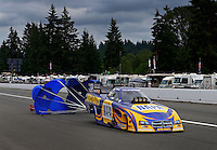 Aug. 3, 2013; Kent, WA, USA: NHRA funny car driver Ron Capps during qualifying for the Northwest Nationals at Pacific Raceways. Mandatory Credit: Mark J. Rebilas-USA TODAY Sports