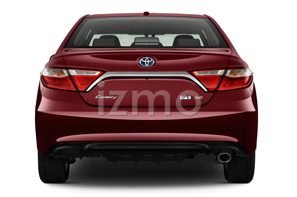 Straight rear view of a 2015 Toyota camry hybrid 4 Door Sedan stock images