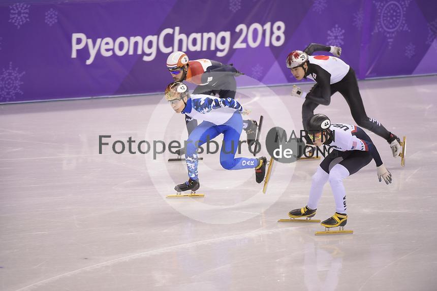 OLYMPIC GAMES: PYEONGCHANG: 17-02-2018, Gangneung Ice Arena, Short Track, 1000m Men, Semen Elistratov (OAR), John-Henry Krueger (USA), Ryosuke Sakazume (JPN), Sjinkie Knegt (NED), ©photo Martin de Jong