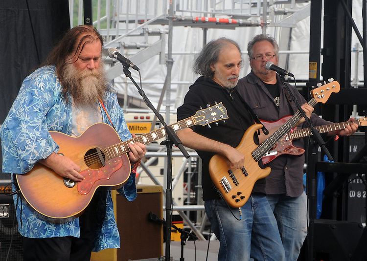 Phil Void, and Marc Dann, and another guitarist, playing with the Dharma Bums, who were the opening act on the West Stage of the Mountain Jam Music Festival of 2015, in Hunter, NY, on Thursday June 4, 2015. Photo by Jim Peppler. Copyright Jim Peppler 2015.