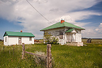 Abandoned schoolhouse building in Boyes, MT
