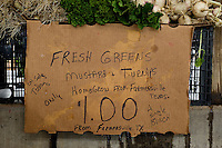 A sign for local greens at the Dallas Farmers Market in Dallas, Texas, Saturday, April 26, 2009. Tomato and pepper season is just around the corner as greens near the end of their season. ..MATT NAGER/ SPECIAL CONTRIBUTOR