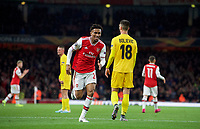 Reiss Nelson of Arsenal runs to join 3rd goal celebrations during the UEFA Europa League match between Arsenal and Standard Liege at the Emirates Stadium, London, England on 3 October 2019. Photo by Andrew Aleks.