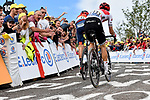 Dylan Teuns (BEL) Bahrain-Merida and Giulio Ciccone (ITA) Trek-Segafredo battle up La Planche des Belles Filles at the end of Stage 6 of the 2019 Tour de France running 160.5km from Mulhouse to La Planche des Belles Filles, France. 11th July 2019.<br /> Picture: Serge Waldbillig   Cyclefile<br /> All photos usage must carry mandatory copyright credit (© Cyclefile   Serge Waldbillig)