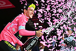 Simon Yates (GBR) Mitchelton-Scott takes over the race leaders Maglia Rosa on the podium at the end of Stage 6 of the 2018 Giro d'Italia, running 169km from Caltanissetta to the Etna (Osservatorio Astrofisico), the first mountain top finish of the race finishing on the Osservatorio Astrofisico climb for the first time in race's history Sicily, Italy. 10th May 2018.<br /> Picture: LaPresse/Massimo Paolone | Cyclefile<br /> <br /> <br /> All photos usage must carry mandatory copyright credit (&copy; Cyclefile | LaPresse/Massimo Paolone)