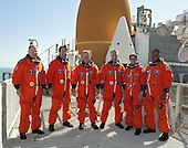 At the National Aeronautics and Space Administration's (NASA) Kennedy Space Center in Florida, the STS-133 crew takes a break from a simulated launch countdown to pose for a group photo on the 195-foot level of Launch Pad 39A on October 15, 2010.   From left are, Pilot Eric Boe, Mission Specialist Michael Barratt, Commander Steve Lindsey, and Mission Specialists Tim Kopra, Nicole Stott, and Alvin Drew.  STS-133, aboard the Space Shuttle Discovery, is scheduled for launch Monday, November 1, 2010 at 4:40 p.m. EDT..Mandatory Credit: Kim Shiflett - NASA via CNP