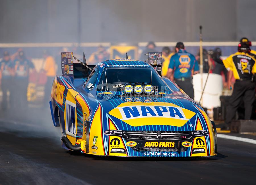 Nov 11, 2018; Pomona, CA, USA; NHRA funny car driver Ron Capps during the Auto Club Finals at Auto Club Raceway. Mandatory Credit: Mark J. Rebilas-USA TODAY Sports
