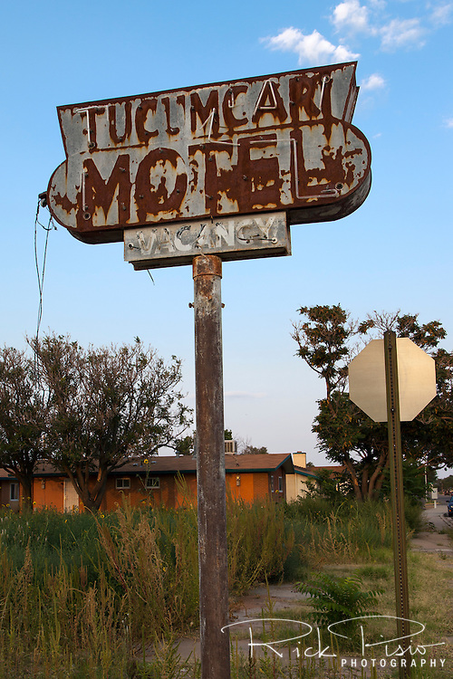A rusted sign and a weed filled field are all that remain of the Tucamcari Hotel on East Smith Ave. in Tucumcari, New Mexico. The structure that once was the Tucumcari Motel burned down in a fire  that occurred in September of 2014.