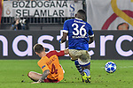 06.11.2018, Veltins-Arena, Gelsenkirchen, GER, CL, FC Schalke 04 vs Galatasaray Istanbul, DFL regulations prohibit any use of photographs as image sequences and/or quasi-video <br /> <br /> im Bild v. li. im Zweikampf Serdar Aziz (#4, Galatasaray) Breel Embolo (#36, FC Schalke 04) <br /> <br /> Foto &copy; nordphoto/Mauelshagen