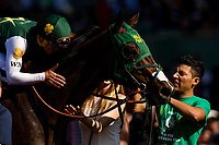ARCADIA, CA - APRIL 07: Javier Castellano give a pet and a kiss to Bolt d'Oro after the Santa Anita Derby at Santa Anita Park on April 07, 2018 in Arcadia, California.(Photo by Alex Evers/Eclipse Sportswire/Getty Images)