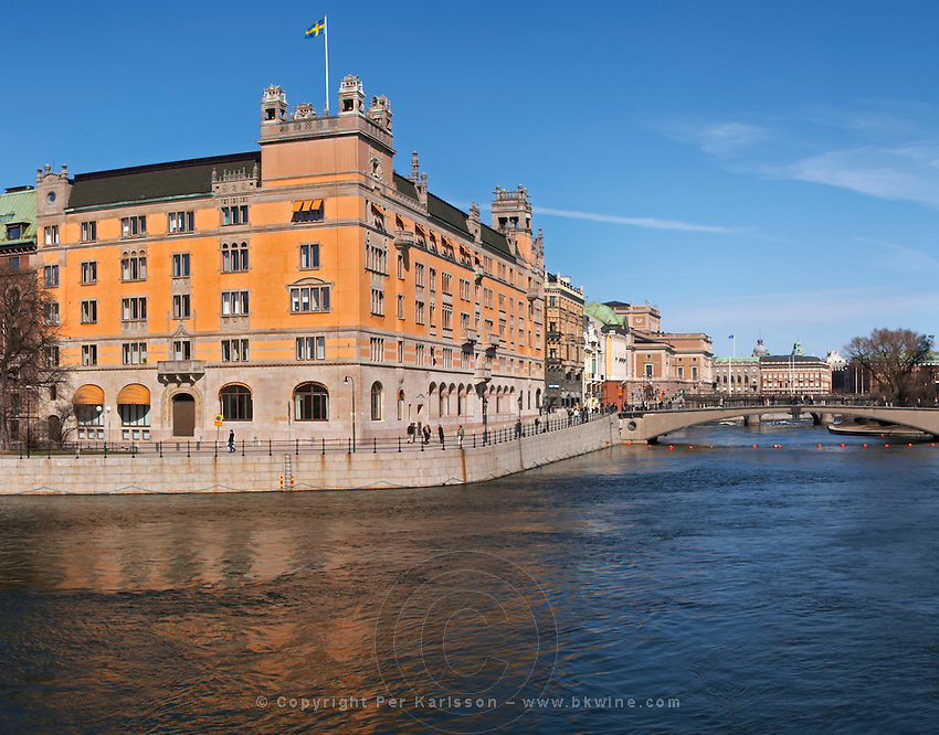 Rosenbad building, the seat of the Swedish government and office of the Prime Minister. Stockholms Ström water. Norrmalm. Stockholm. Sweden, Europe.