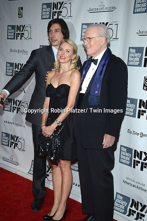 Adam Driver, Naomi Watts and Charles Grodin attend the 2013 New York Film Festival Opening Night Premiere of &quot;Captain Phillips&quot; on September 27, 2013 at <br /> Alice Tully Hall in New York City. They were filming a movie called the Noah Baumbach Project.