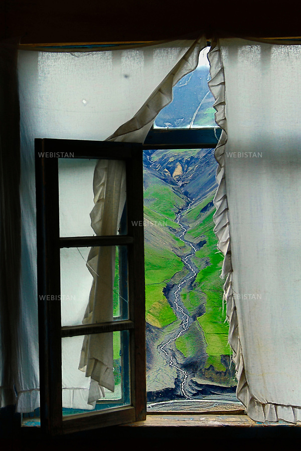 Azerbaijan, Guba district (Quba), Khinalig (Xinaliq) Village, May 7, 2012<br /> The Khinalig River, located on a summit in 