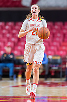 College Park, MD - DEC 6, 2016: Maryland Terrapins guard Sarah Myers (21) calls out a play during game between Towson and Maryland at XFINITY Center in College Park, MD. The Terps defeated the Tigers 97-63. (Photo by Phil Peters/Media Images International)