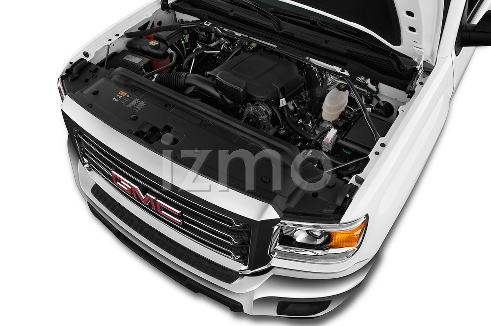 Car Stock 2016 GMC Sierra-2500HD 2WD-Double-Cab-Long-Box 4 Door Pick-up Engine  high angle detail view