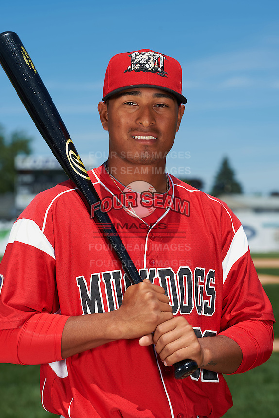 Batavia Muckdogs outfielder Jhonny Santos (32) poses for a photo before the teams first practice on June 15, 2016 at Dwyer Stadium in Batavia, New York.  (Mike Janes/Four Seam Images)
