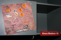 SAN ANTONIO, TX - APRIL 2:  School kids decorate the lockers of the Stanford players at the Final Four media day on April 2, 2010 in San Antonio, Texas.