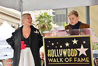 LOS ANGELES, CA. February 05, 2019: Pink &amp; Ellen DeGeneres at the Hollywood Walk of Fame Star Ceremony honoring singer Pink.<br /> Pictures: Paul Smith/Featureflash