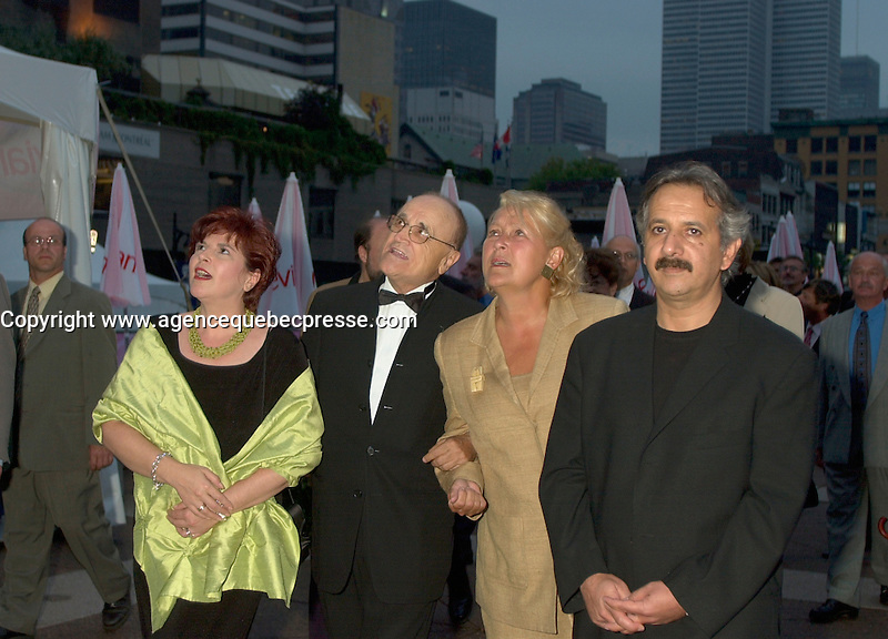August 23rd  2002, Montreal, Quebec, Canada<br /> <br /> Diane Lemieux, Quebec Minister of Cutural Affairs (L),<br /> Serge Losique , Founder and President, Montreal Word Film Festival (M-L) and<br /> Pauline Marois ,Quebec  Vice-Premier and Finances Minister M-(R)a nd<br /> Majod Majidi,President of the Jury (R)<br /> on the opening night of the 26th Montreal World Film Festival, August 23rd  2002<br /> <br /> <br /> Mandatory Credit: Photo by Pierre Roussel- Images Distribution. (&copy;) Copyright 2002 by Pierre Roussel <br /> <br /> NOTE : <br />  Nikon D-1 jpeg opened with Qimage icc profile, saved in Adobe 1998 RGB<br /> .Uncompressed  Uncropped  Original  size  file availble on request.