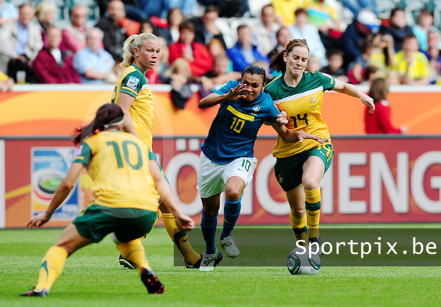 Fifa Women's World Cup Germany 2011 : Brazil - Australia  at Borussia - Park in Munchengladbach : Marta in duel met Collette McCallum (rechts) .foto DAVID CATRY / Vrouwenteam.be