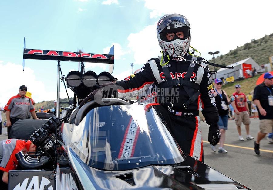 Jul, 22, 2012; Morrison, CO, USA: NHRA top fuel dragster driver Steve Torrence during the Mile High Nationals at Bandimere Speedway. Mandatory Credit: Mark J. Rebilas-US PRESSWIRE