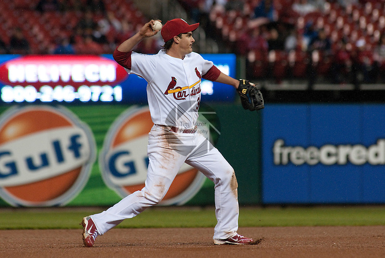 02 May 2011                                       St. Louis Cardinals shortstop Ryan Theriot (3) throws to first base after fielding a grounder early in the game. The Florida Marlins defeated the St. Louis Cardinals 6-5 on Monday May 2, 2011 in the first game of a four-game series at Busch Stadium in downtown St. Louis.