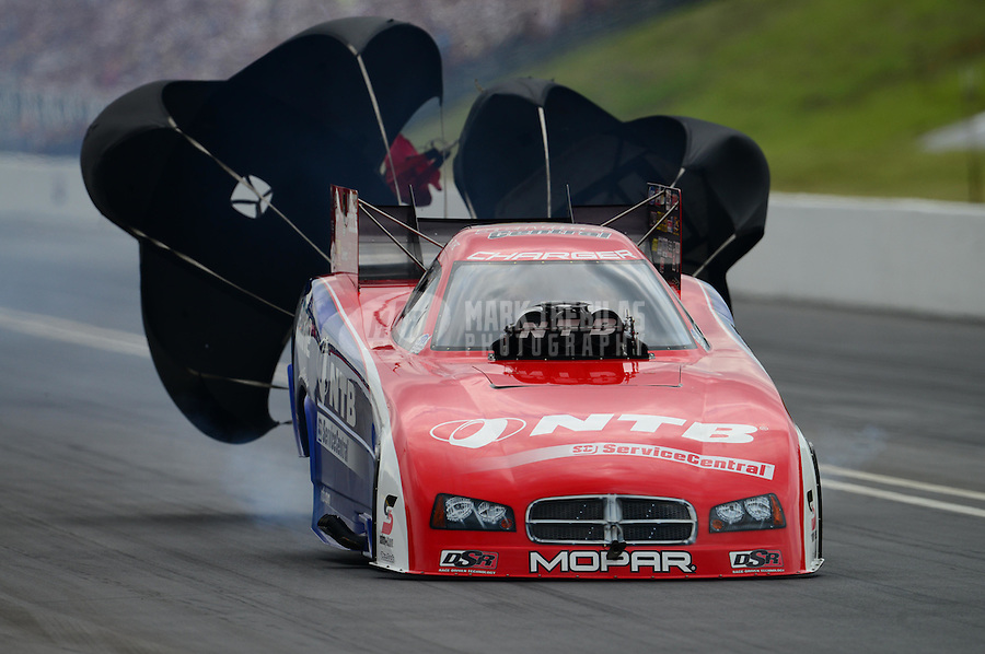 Jun. 17, 2012; Bristol, TN, USA: NHRA funny car driver Johnny Gray during the Thunder Valley Nationals at Bristol Dragway. Mandatory Credit: Mark J. Rebilas-