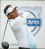 15.10.2014. The London Golf Club, Ash, England. The Volvo World Match Play Golf Championship.  Day 1 group stage matches.  Thongchai Jaidee [THI] tee shot on the first hole in his match against Francesco Molinari [ITA].