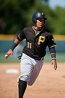 Pittsburgh Pirates Samuel Inoa (91) during a minor league Spring Training game against the Atlanta Braves on March 13, 2018 at Pirate City in Bradenton, Florida.  (Mike Janes/Four Seam Images)