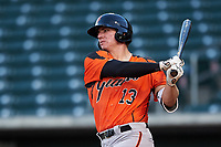 AZL Giants Orange Connor Cannon (13) at bat during an Arizona League game against the AZL Cubs 1 on July 10, 2019 at Sloan Park in Mesa, Arizona. The AZL Giants Orange defeated the AZL Cubs 1 13-8. (Zachary Lucy/Four Seam Images)