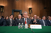 """Timothy J. Sloan, Chief Executive Officer and President, Wells Fargo & Company, prior to giving testimony before the United States Senate Committee on Banking, Housing, and Urban Affairs as they conduct a hearing entitled, """"Wells Fargo: One Year Later"""" on Capitol Hill in Washington, DC on Tuesday, October 3, 2017. <br /> Credit: Ron Sachs / CNP"""