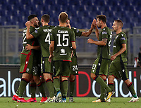 Football, Serie A: S.S. Lazio - Cagliari, Olympic stadium, Rome, July 23, 2020. <br /> Cagliari's Giovanni Simeone (third from left) celebrates after scoring with his teammates during the Italian Serie A football match between Lazio and Cagliari at Rome's Olympic stadium, Rome, on July 23, 2020. <br /> UPDATE IMAGES PRESS/Isabella Bonotto