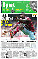 Sunday Times 26-Oct-2014 - 'Happy Hammer: Diafra Sakho celebrates his goal as West Ham United defeat champions Manchester City 2-1 at Upton Park to remain in the top four. The Senegal forward, a summer arrival from Metz, has now scored in his first six Premier League starts' - Photo by Rob Newell (Digital South)