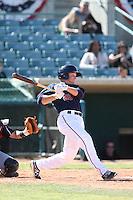 Dan Gulbransen #25 of the Lancaster JetHawks bats against the Lake Elsinore Storm at The Hanger on April 6, 2014 in Lancaster, California. Lancaster defeated Lake Elsinore, 7-4. (Larry Goren/Four Seam Images)