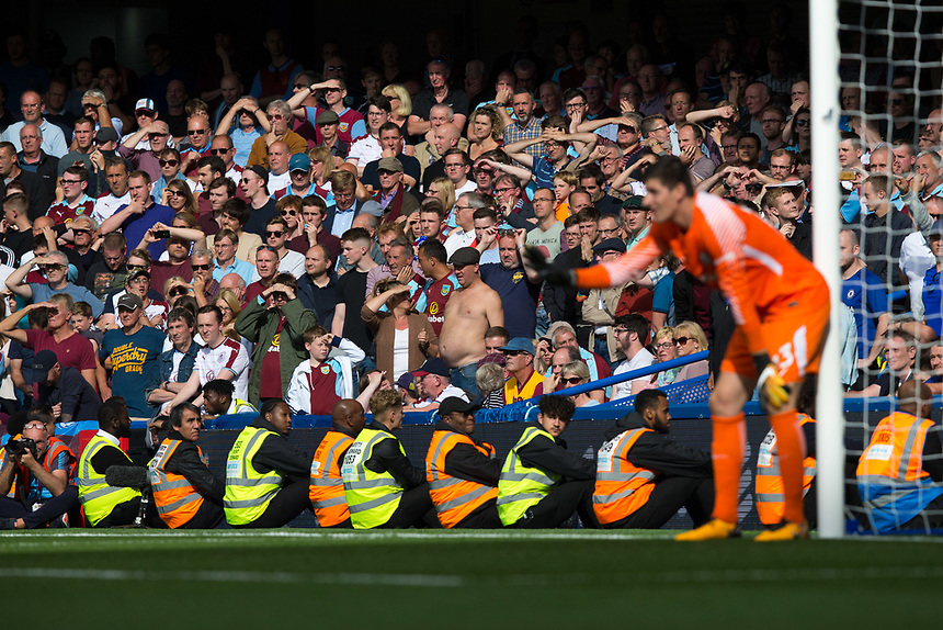 Burnley fans look on nervously in the closing stages<br /> <br /> Photographer Craig Mercer/CameraSport<br /> <br /> The Premier League - Chelsea v Burnley - Saturday August 12th 2017 - Stamford Bridge - London<br /> <br /> World Copyright &copy; 2017 CameraSport. All rights reserved. 43 Linden Ave. Countesthorpe. Leicester. England. LE8 5PG - Tel: +44 (0) 116 277 4147 - admin@camerasport.com - www.camerasport.com