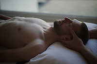 Ryder Hesjedal (CAN/Trek-Segafredo) getting some osteopathic therapy at the team hotel after finishing stage 2: Arnhem-Nijmegen (NLD) 190km<br /> <br /> 99th Giro d'Italia 2016